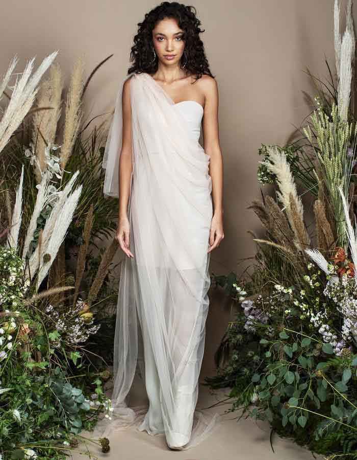 Bazza Alzouman国际品牌品牌2020春夏新款半肩性感礼裙