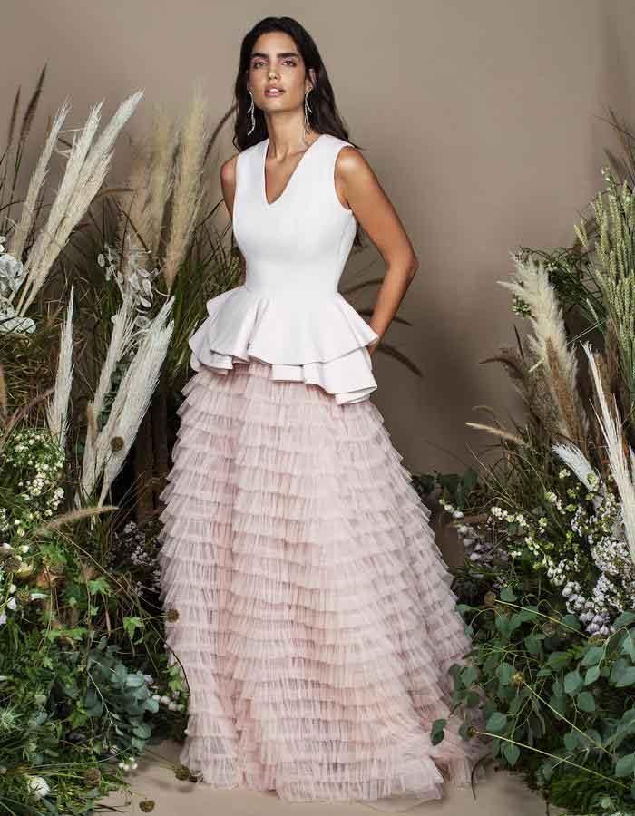 Bazza Alzouman国际品牌品牌2020春夏新款粉色长款蛋糕裙