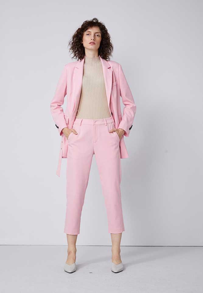 真我永恒女装品牌2020春夏新款粉色气质西装套装