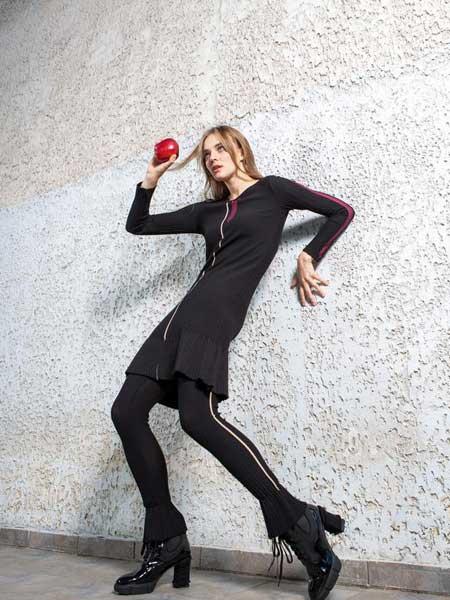 Alex S Yu国际品牌品牌2020春夏新款条纹渐变色长袖长款上衣