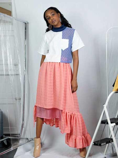 Alex S Yu国际品牌品牌2020春夏新款拼接色短袖上衣