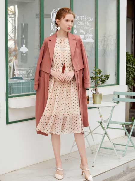 金蝶茜妮女装品牌2020春夏新款纯色气质纽扣大衣