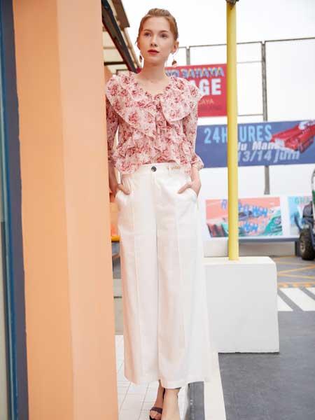 金蝶茜妮女装品牌2020春夏新款碎花真丝衬衫