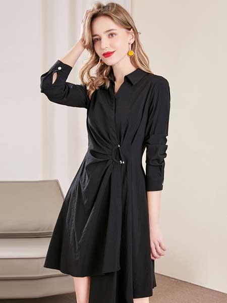 戈蔓婷女装品牌2020春夏新款纯色长袖连衣裙