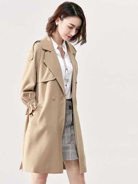戈蔓婷女装品牌2020春夏新款纯色气质纽扣大衣