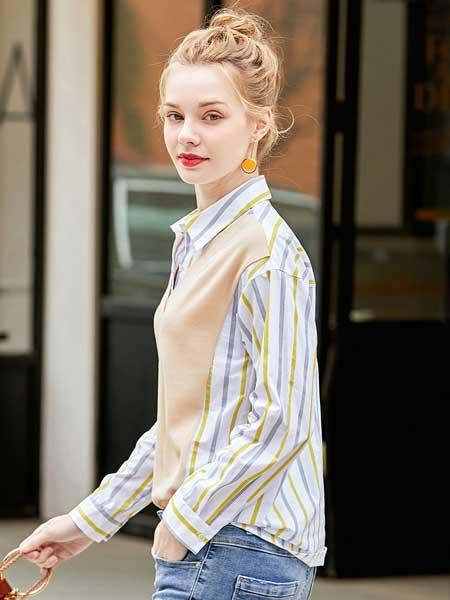 戈蔓婷女装品牌2020春夏新款纯色条纹假两件上衣