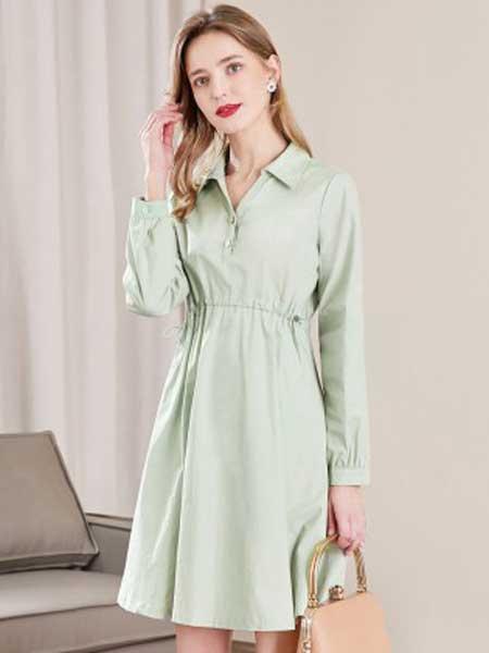 戈蔓婷女装品牌2020春夏新款纯色翻领气质百搭连衣裙