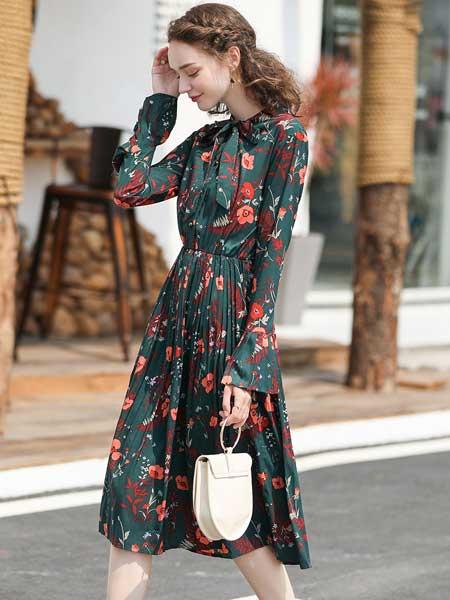 戈蔓婷女装品牌2020春夏新款碎花长袖连衣裙