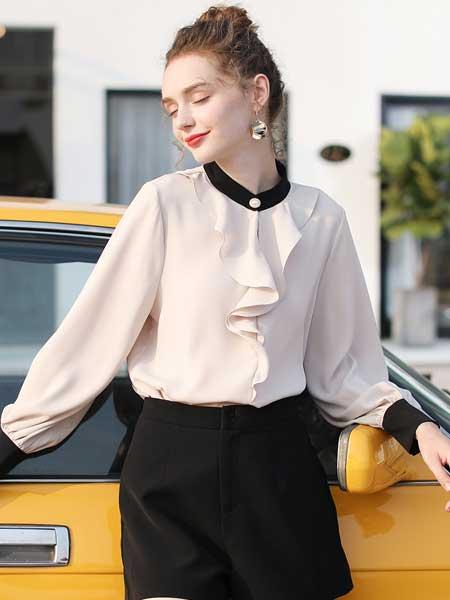 戈蔓婷女装品牌2020春夏新款纯色翻领真丝纽扣衬衫