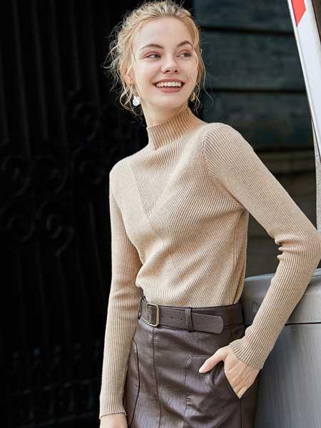 戈蔓婷女装品牌2020春夏新款纯色针织长袖上衣