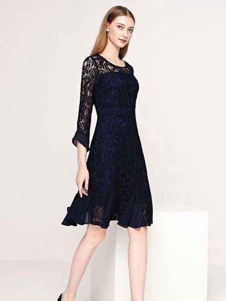 芮色女装品牌2020春夏新款纯色蕾丝长袖连衣裙