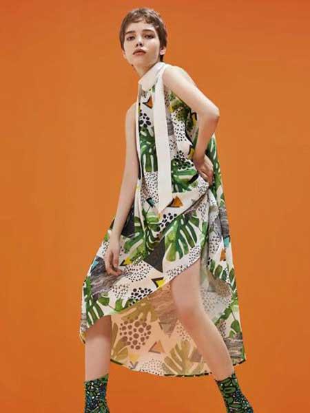 卡歌娜女装品牌2020春夏新款纯色碎花无袖连衣裙