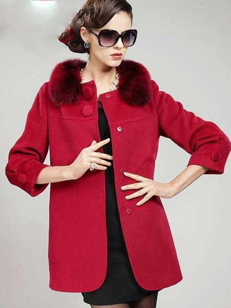 TSEEYI女装品牌2019秋冬新款纯色大毛领毛呢保暖外套