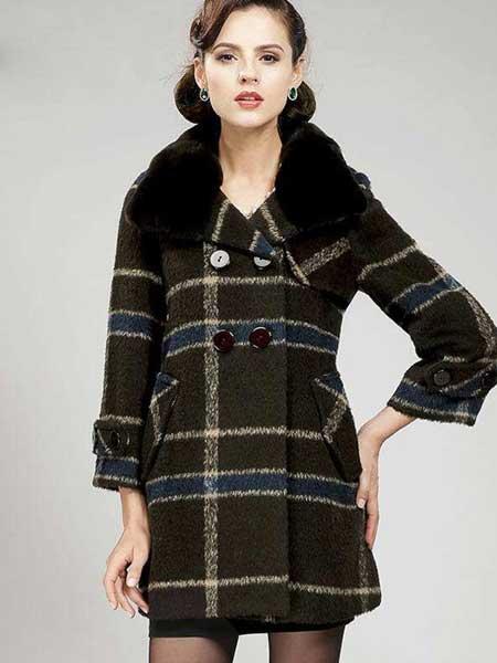 TSEEYI女装品牌2019秋冬新款纯色格子气质大毛领保暖外套
