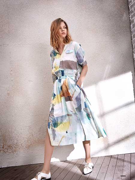 南耳女装品牌2020春夏新款纯色印花性感连衣裙