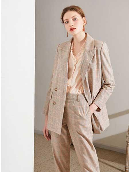 QS秸熙、卡蕊.安女装品牌2020春夏新款纯色千鸟格西装套装