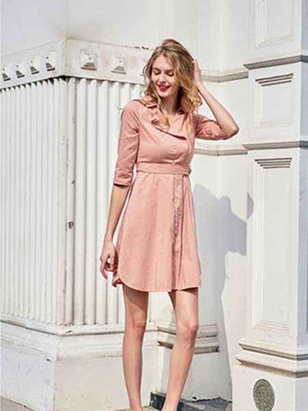 雁腾逸女装品牌2020春夏新款纯色气质连衣裙