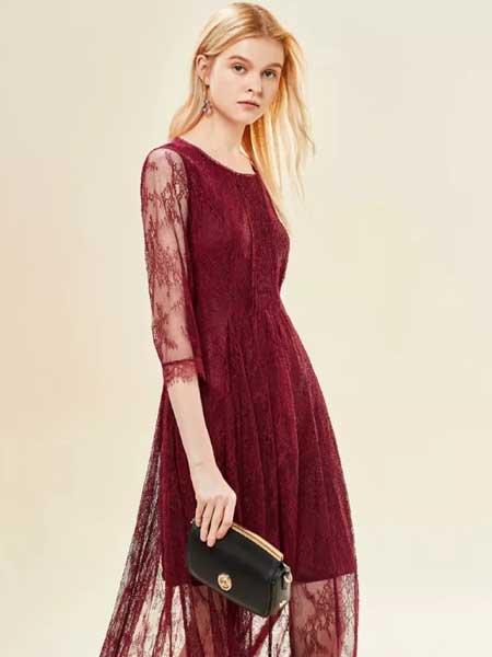 艺梦来女装品牌2020春夏优雅红色复古蕾丝连衣裙