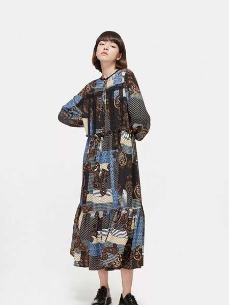 LIULIU MO刘刘墨女装品牌2020春夏新款纯色印花长袖连衣裙