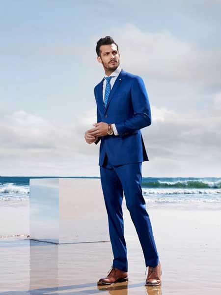希努尔男装品牌2020春夏新款纯色气质西装套装 成熟