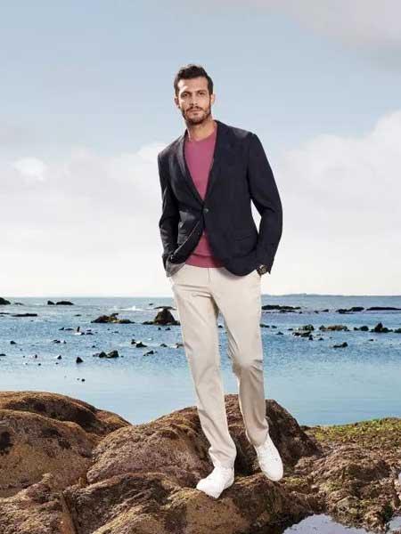 希努尔男装品牌2020春夏新款纯色气质纽扣西装外套 商务成熟