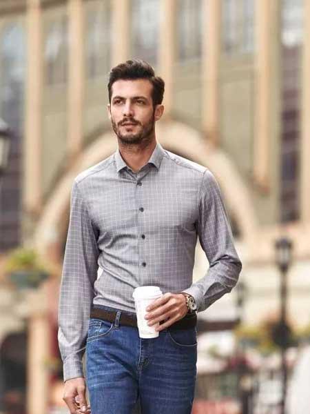 希努尔男装品牌2020春夏新款纯色纽扣衬衫