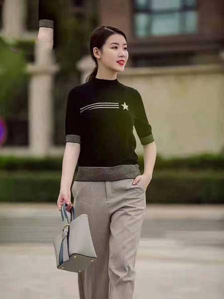 舍念女装品牌2020春夏新款纯色图案针织短袖上衣