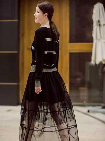 舍念女装品牌2020春夏新款纯色气质透纱连衣裙