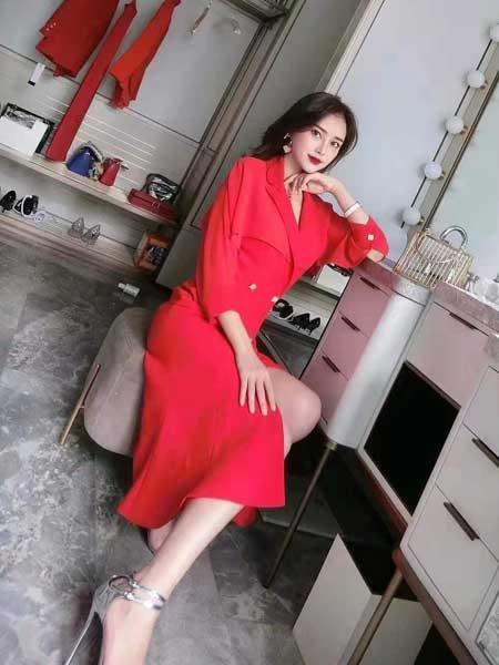 索诗妃儿SUOSHIFEIER女装品牌2020春夏新款大红色气质连衣裙