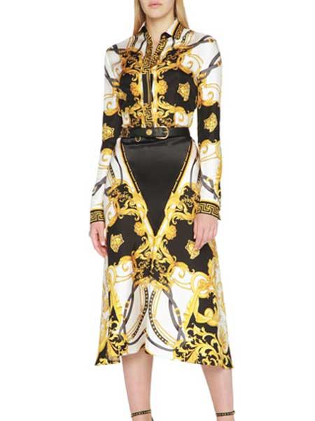 St Agni国际品牌品牌2020春夏印花棉质超长连衣裙