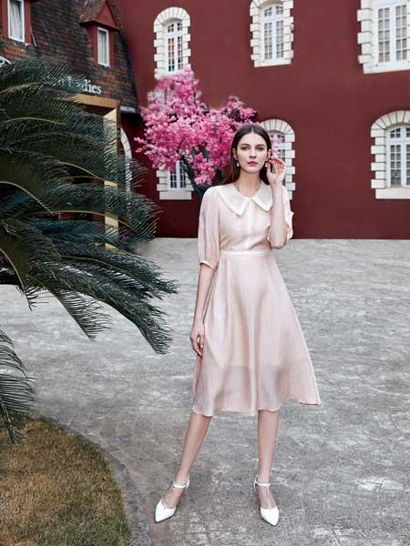 特儿迪雅女装品牌2020春夏新款纯色翻领简洁连衣裙