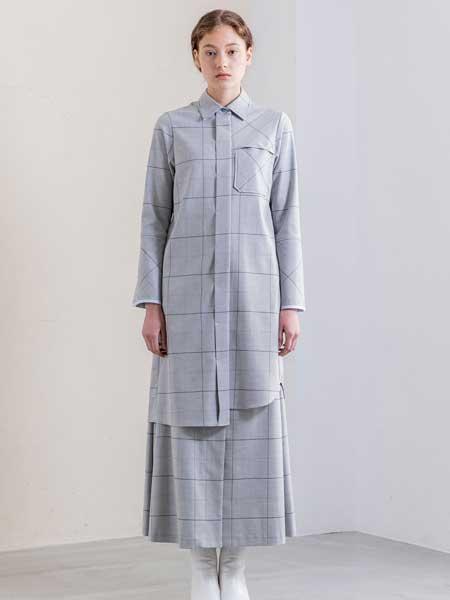 SALT+JAPAN国际品牌品牌2020春夏新款纯色条纹气质翻领裙子套装