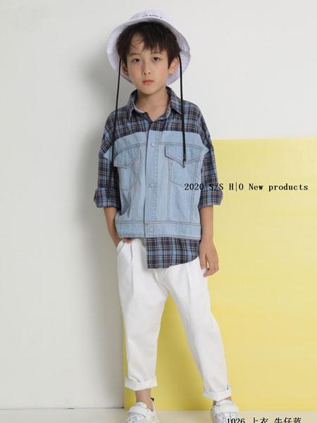 H|O逅童装品牌2020春夏新款格子牛仔拼接个性上衣