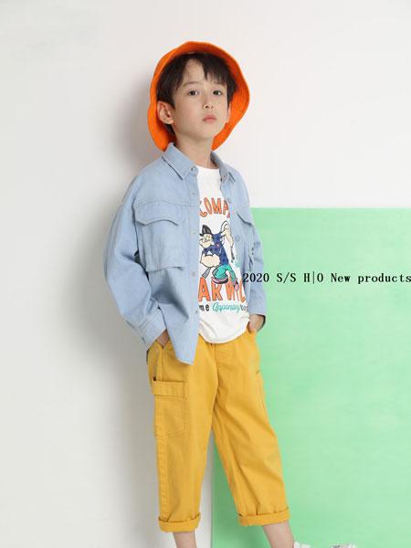 H|O逅童装品牌2020春夏新款纯色简洁牛仔外套