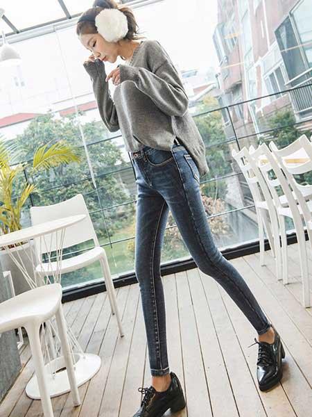 美酷思女装品牌2020秋冬新款高腰修身牛仔裤