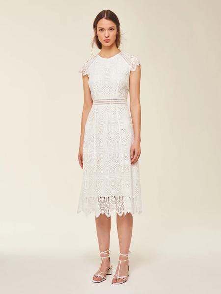 Ivy & Oak国际品牌品牌2020春夏雪白蕾丝纱裙