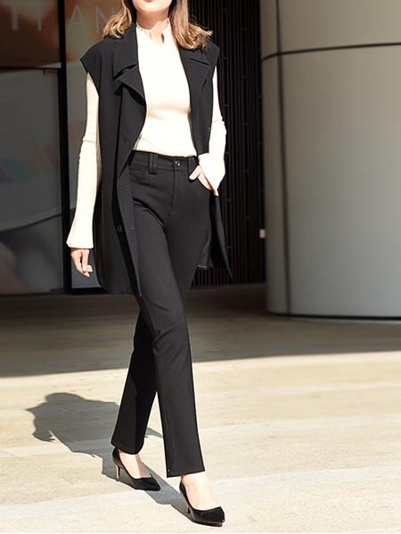 黑贝HERBAY女装品牌2020秋冬西装马甲外套