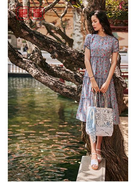 渔女装品牌2020春夏知性连衣裙