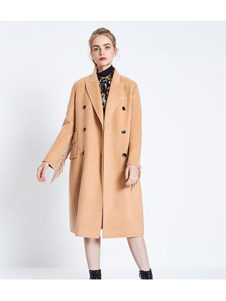 季候风女装品牌2020秋冬棕色毛呢大衣