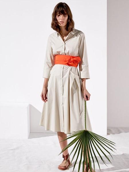 Rosso35国际品牌品牌2020春夏时尚收腰衬衫连衣裙