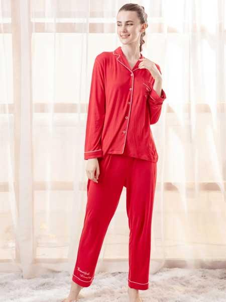 欧林雅内衣品牌2020春夏新款女式长袖纯色家居服