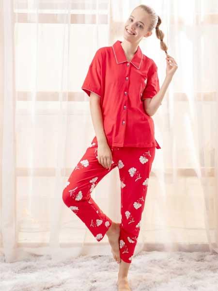 欧林雅内衣品牌2020春夏新款纯色印花清新家居服