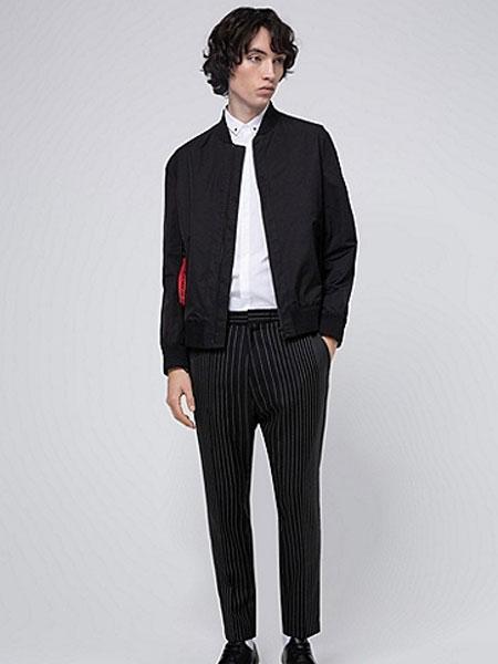 HUGO国际品牌2020春夏男款黑色艺术印花棉翻领长袖衬衫