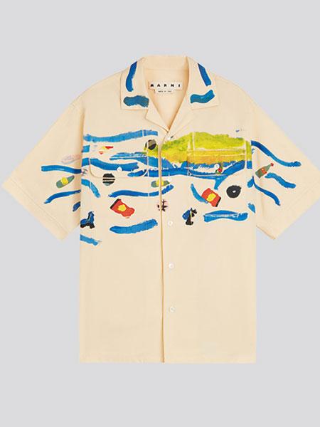 MARNI春夏系列2020新款男士印花淡黄色棉质短袖衬衫