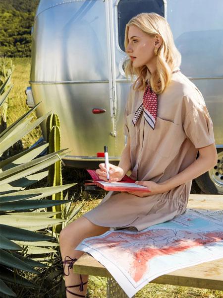 索玛女装品牌2020春夏新款纯色领结气质连衣裙