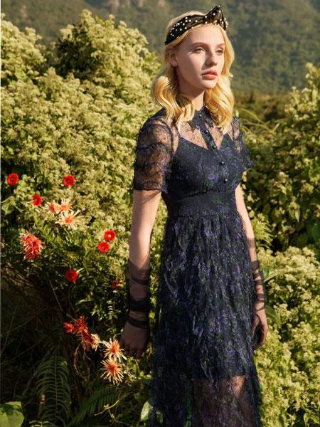 索玛女装品牌2020春夏新款纯色蕾丝透纱连衣裙