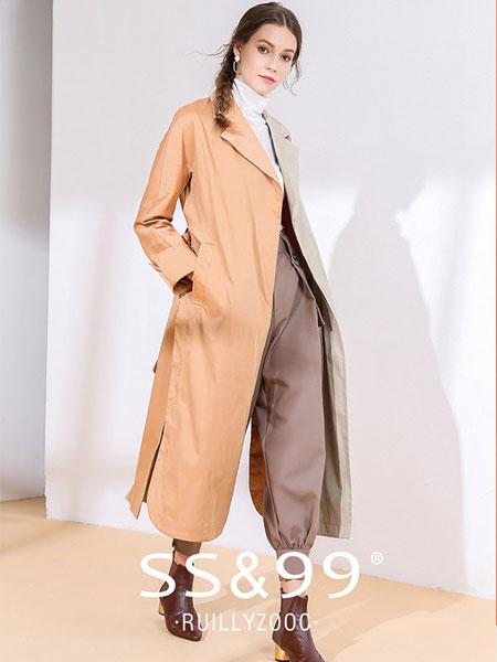 SS&99女装品牌2019秋冬新款秋冬风衣女中长款拼色高开叉时尚西装领长款外套女