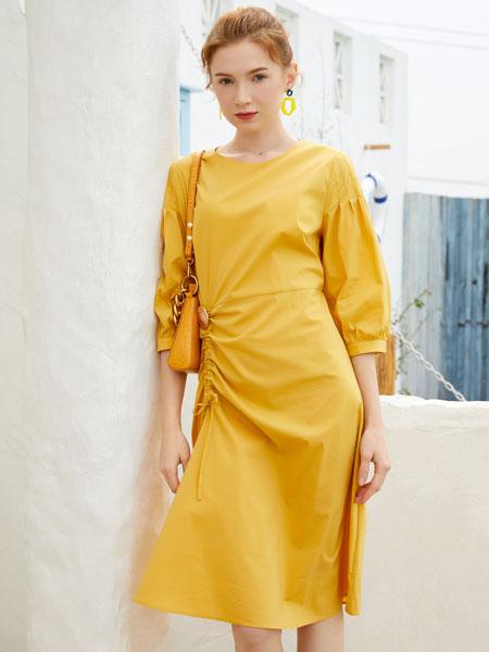 金蝶茜妮女装品牌2020春夏新款纯色连衣裙