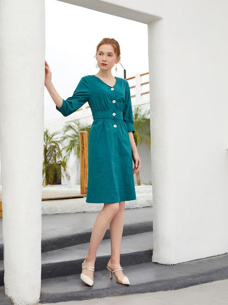 金蝶茜妮女装品牌2020春夏新款纯色纽扣气质连衣裙