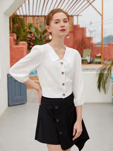 金蝶茜妮女装品牌2020春夏新款纯色纽扣气质裙子套装